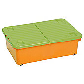 32 litre wheeled underbed box and split lid orange/lime