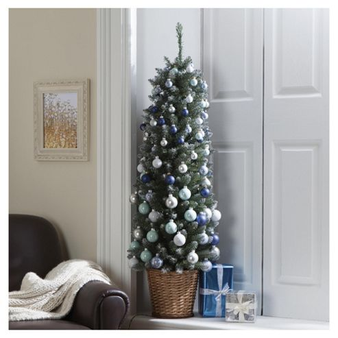 Festive 4ft Green Pencil Christmas Tree with Silver & Blue Decorations & Lights