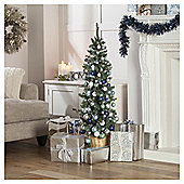 Festive Green Pencil Christmas Tree With Silver & Blue Decorations & Pre-Lit Lights, 4ft
