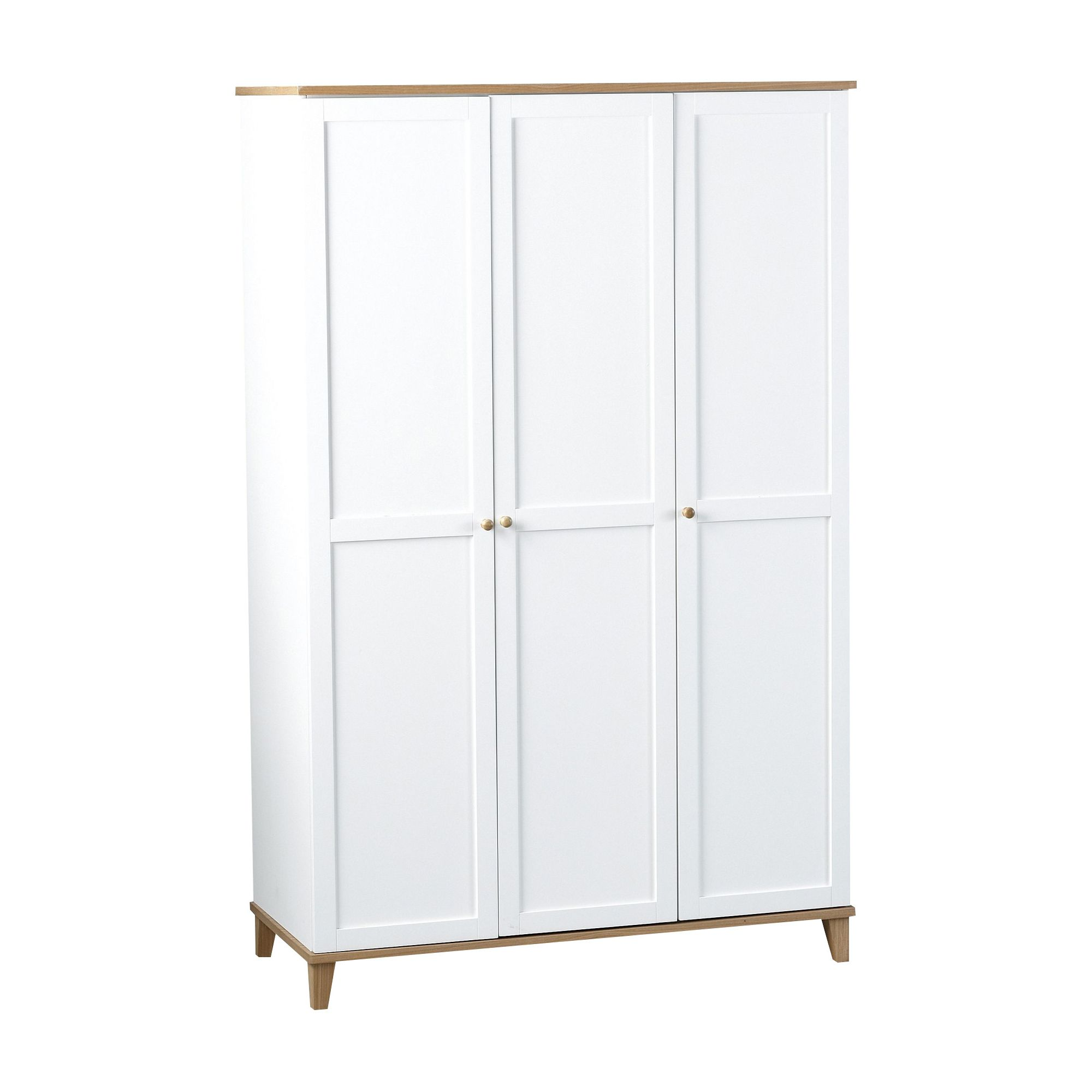 Home Essence Penzance Three Door Wardrobe in White/Ash Veneer at Tesco Direct