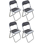 Harbour Housewares Cool Grey / White Padded, Folding, Desk Chair - Pack of 4