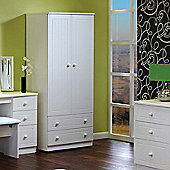 Welcome Furniture Warwick Plain Midi Wardrobe - White - 127cm H
