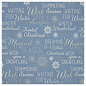 Blue Text and Glitter Christmas Wrapping Paper, 3m