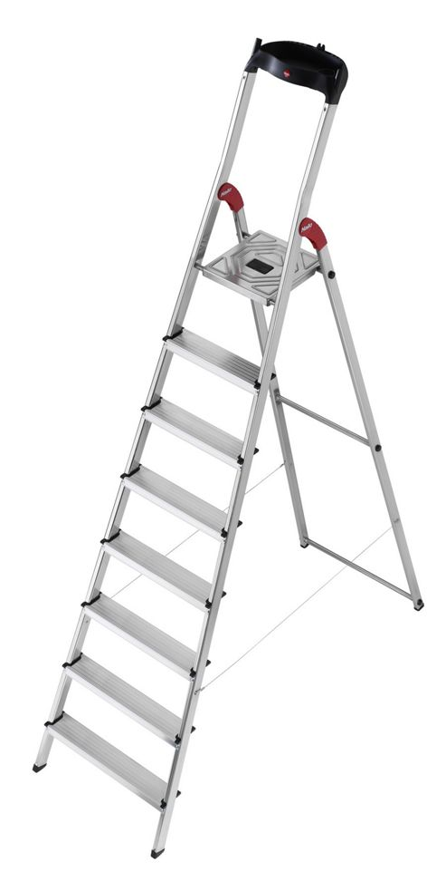 Hailo 346cm L60 Aluminium Safety Household Ladder with Multifunction Tray