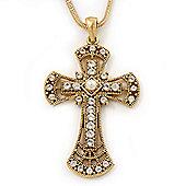 Caviar Pearl and Swarovski Crystal 'Crux Invicta' Statement Cross Pendant and Chain (Gold)