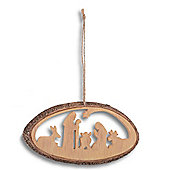 Silhouette Nativity Scene Hanging Christmas Decoration - Design B