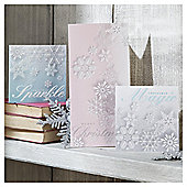 Tesco Glittered Snowflake, Christmas Cards 24 Pack