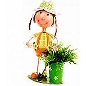 Girl Wearing Orange Dungarees and Sun Hat Metal Garden Planter