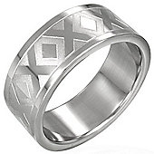 Urban Male Modern Men's Patterned Stainless Steel 8mm Ring
