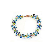 QP Jewellers 8.5in Peridot & Blue Topaz Blossom Bracelet in 14K Rose Gold
