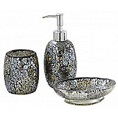 Sparkle - Mosaic Bathroom Set / Soap Dish / Dispenser / Beaker - Black / Gold