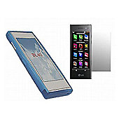 Blue Twin Pack ProGel Skin Case & LCD Screen Protector - LG BL40 Chocolate
