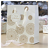 Gold Lace Doily Christmas Gift Bag, Medium