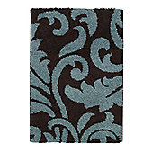 Think Rugs Majesty Brown/Blue Shaggy Rug - 60 cm x 120 cm (2 ft x 3 ft 9 in)
