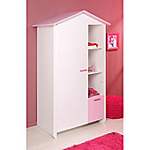 Parisot Biotiful Wardrobe with Storage Boxes - Megeve White / Indian Pink