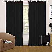 """Homescapes Black Thermal Blackout Eyelet Curtain Pair, 66 x 54"""""""