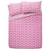 Tesco Basic Fan Print Duvet Cover And Pillowcase Set, Fucshia Pink, King Size