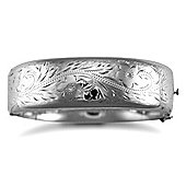 Jewelco London Rhodium Coated Sterling Silver engraved with safety Chain Bangle - Ladies