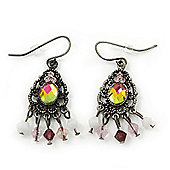 Vintage Inspired Crystal Beaded Drop Earrings In Antique Silver Metal - 40mm Length