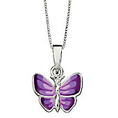 Girl's Purple Butterfly Silver Pendant