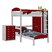 Maximus L Shape High Sleeper Set 2 White With Red Details