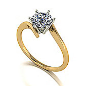 18ct Gold 6.5mm Moissanite Single Stone Twist Shank Ring