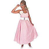 50's Pink Polka Dot Dress - Adult Costume Size: 6-8