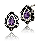 Gemondo Sterling Silver 0.3ct Amethyst & Marcasite Art Nouveau Stud Earrings