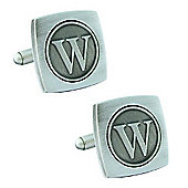 Antiqued Silver Plated Initial - W Cufflink - Single