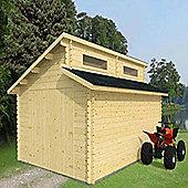 Mercia Garden Products Garage Log Cabin with Double Doors - 275 cm H x 600 cm W x 540 cm D