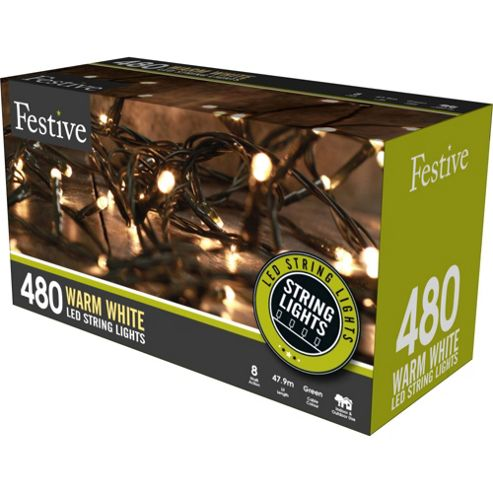 Led String Lights Tesco : Buy Multi-Function Warm White LED Christmas String Lights - 480 Bulbs from our All Christmas ...