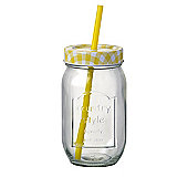 Parlane American Style Glass Bottle Drinks Jar with Yellow Straw - 20 x 8cm