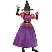 Child Orange And Purple Witch Fancy Dress Costume Large
