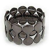 Polished Black Tone Geometric Flex Bracelet - 18cm Length