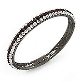 Purple/Clear Crystal Bangle Bracelet In Gun Metal Finish - up to 19cm length