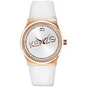 Kenzo Dix-Huit Unisex White Leather Watch 9600303