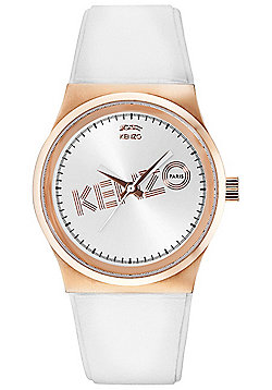 Kenzo Dix-Huit Unisex White Leather Watch 9600303