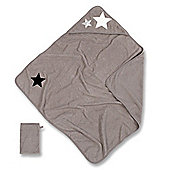 Baby Boum Hooded Bath Towel & Wash Mitt (Wispy Grey)