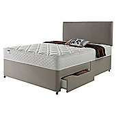 Silentnight Miracoil Luxury Micro Quilt 2 Drawer King Size Divan Mink with Headboard