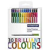 STAEDTLER BRILLIANT TRI PLUS FINELINER 30PK