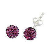Rhodium-Coated Sterling Silver Violet Crystal Shamballa Earrings