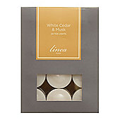 Linea White Cedar & Musk Set 24 Tealights In White