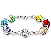 Jewelco London Sterling Silver Crystal 10mm Disco Ball Shamballa Bracelet - Rainbow Multi Color