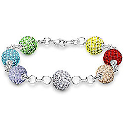 Jewelco London Sterling Silver Crystal 10mm Disco Ball Shamballa Bracelet - Rainbow Multi Color