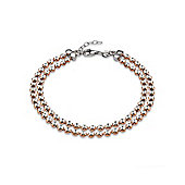Jewelco London Rose Coated Sterling Silver Diamond-cut Double Link Tennis Bracelet