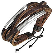Urban Male Surf Style Brown Leather Multi Strand Men's Bracelet