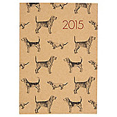 Kraft Dog Print 2015 Diary A5 Week To View