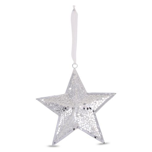 Hanging Silver Mirror Mosaic Glass Star Ornament