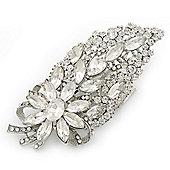 Bridal/ Wedding/ Prom/ Party Rhodium Plated Clear Swarovski Sculptured Leaf Crystal Hair Comb - 11.5cm