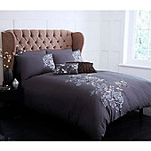 Pied A Terre Shadow Floral Single Duvet Cover In Charcoal